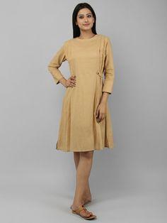 Beige Cotton Pleated Dress Cotton Tunics bad6cc4cb07a