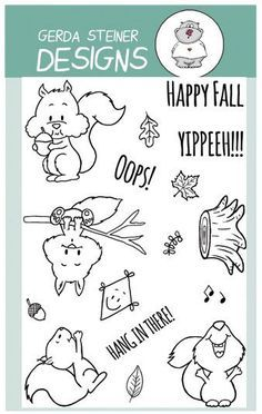 These cute Squirrel Clear Stamps give you lots of possibilities to create lots of fall scenes but also other every day cards. The sentiments match perfectly and the ideas are endless. Make the squirre