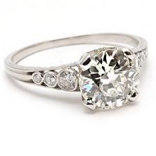 Antique Art Deco Old European Cut Diamond Engagement Ring Solid Platinum