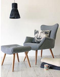 Grey Flannel Wing Back Armchair with Footstool optional - Svpply diy home decor,diy,diy crafts,diy room decor,diy headboard My Living Room, Living Room Chairs, Home And Living, Living Room Furniture, Home Furniture, Mid Century Armchair, Grey Flannel, Relax, My New Room