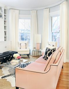 Black trim for a pink couch