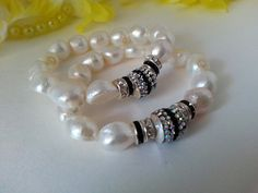 White Stone Bracelet Natural Baroque by AliceJewelryBoutique