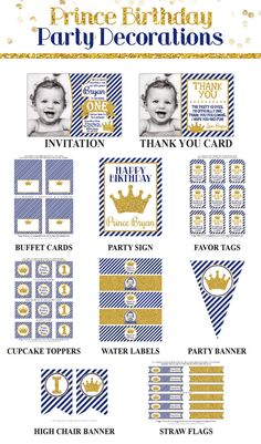 Prince Birthday Invitation and Party Decorations by PuggyPrints