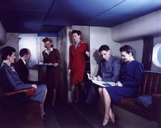 Lower deck passenger lounge of a Boeing 377 Stratoliner. (Boeing)