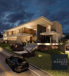 home fachadas [New] The 10 Best Home De - Modern Architecture House, Residential Architecture, Architecture Design, House Front Design, Modern House Design, Modern Mansion, Dream House Exterior, Villa Design, House Goals