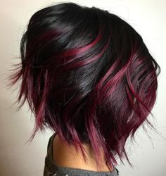 The most popular highlights for dark hair are light brown or caramel balayage, but there are no limits on color for a balayage hairstyle. Look below for the top balayage for dark hair to find your inspiration. Dark Red Hair, Red Hair Color, Cool Hair Color, Black Cherry Hair Color, Red Color, Burgundy Hair, Black Hair Burgundy Highlights, White Hair, Edgy Hair Colors