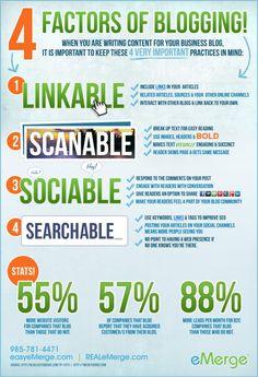 4 Factors of #Blogging #infografía