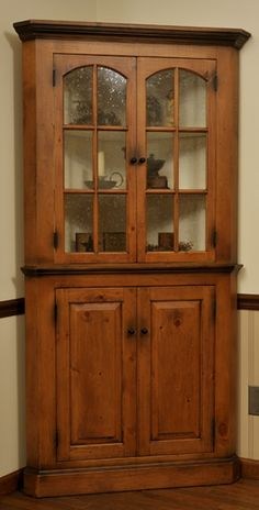 ANTIQUE PINE CORNER CABINET WITH SEEDY GLASS . Have This In My Kitchen And  Love The