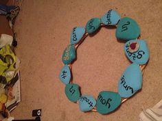 Beach quote on shells on wreath. Beach crafts I made myself.