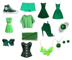 """""""Green"""" by gizmolover11 on Polyvore featuring Converse, J Brand, Off-White, Bling Jewelry and Emi Jewellery"""
