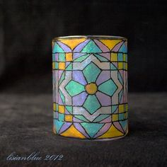 Colorful Geometric Quilt Pattern Hand Painted Candle Holder
