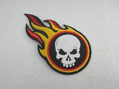 Embroidered Fire Skull Iron On Patch