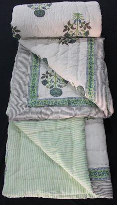 Hand Block Printed Jaipuri Razai Solid White Cotton Print hand Filling Quilt KH2