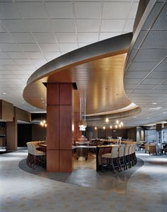 Sears Centre, Hoffman Estates, IL. Woodwright™ 300C wood-finish metal #ceiling by #Hunter Douglas Contract #architecture