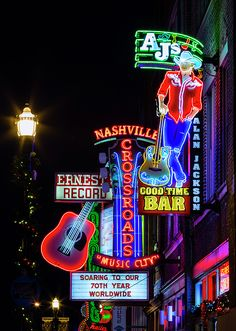 Neon & Honky Tonks on Lower Broadway in downtown Nashville, Tennessee.  For more Nashville images visit: http://stephen-stookey.pixels.com/collections/nashville+and+middle+tennessee
