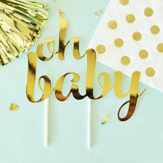 Baby Shower Cake Topper   Oh Baby Cake Topper   Gold Baby Shower Ideas