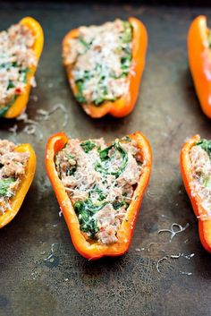Sausage, Goat Cheese and Arugula Stuffed Peppers recipe