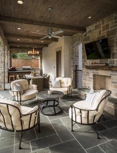 Stone on floor is PA blue stone. The walls are a Texas limestone blend from Alamo Stone. Bordley 2 - traditional - Patio - Houston - Thompson Custom Homes Outdoor Kitchen Design, Patio Design, House Design, Patio Kitchen, Outdoor Living Areas, Outdoor Rooms, Outdoor Decor, Outdoor Furniture, Outdoor Seating