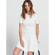 108c6095088b Corset-Effect Knit Dress via Polyvore featuring dresses