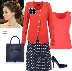 """What to do with a Navy polka dot skirt"" by pentecostal-andlovingit on Polyvore"