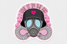 Love is in the Air! And you had better use protection! This pastel goth, cute gasmask, vinyl sticker is just the right mix of creepy cute. This funny sticker makes a hilarious gift for: Gas Mask Drawing, Gas Mask Art, Masks Art, Anti Valentines Day, Funny Valentine, Funny Stickers, Laptop Stickers, Creepy Cute, Aesthetic Stickers