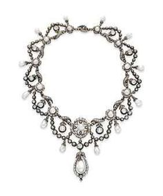 """""""AN ANTIQUE NATURAL PEARL AND DIAMOND NECKLACE  Of garland design, suspending old mine-cut diamond swags, gathered by old mine-cut diamond and natural pearl intersections, suspending articulated natural pearls with rose-cut diamond caps, mounted in silver and gold, circa 1860, 16 ins.  Collection of Elizabeth Taylor  Christie's"""""""
