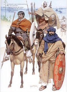 Guerriers du caliphat omeyyade. Illustration d'Angus Mc Bride.