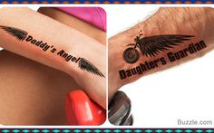 angel guardian father daughter tattoo
