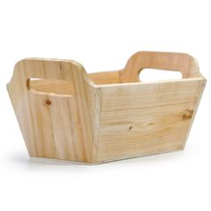 "Natural Rectangular Wood Tray - Medium Top Rim Dimensions: 9.5"" L x 4.75"" W x 4""H (5.5"" H with handle) Base Dimensions: 7.75"" L x 3.5"" W $4.75."