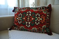 Kilim Patterned Thick Wool Pillowcases Ethnic Moroccan Tribal Rustic Decoration #Anatolian #Ethnic