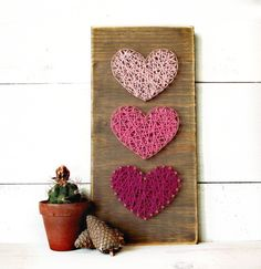 Mini Hearts String Art Sign Heart Sign Wooden von LoveArtSoul11