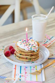 Multigrain Birthday Cake Pancakes have become our birthday morning tradition and the twins love them! Birthday Cake Pancakes, Birthday Cake For Mom, Pancake Cake, Birthday Breakfast, 31st Birthday, Happy Birthday, Birthday Box, Birthday Ideas, Pancakes For Two