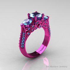 Classic 14K Pink Gold Three Stone Aquamarine Solitaire Engagement Ring, Wedding Ring R200-14KPGAQ