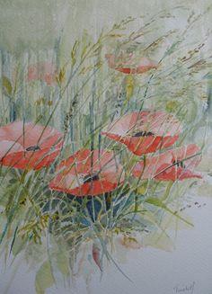 Poppies, aquarel, 20x30 cm.,    door T. Hiem.