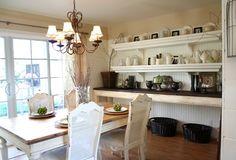 Dining room shelves.