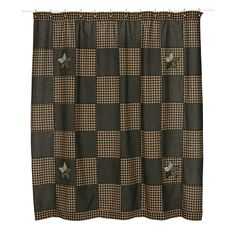 """The Farmhouse Star Shower Curtain measures 72"""" x 72"""" and features a checker board pattern with alternating black and tan check fabrics. Accented corners with 5-point stars in black, tan and creme. Straight edge; Features 1.5"""" header with 1"""" button holes. Single Fabric and Machine Stitched."""