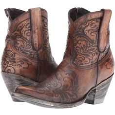 Old Gringo Mika (Beige) Cowboy Boots ($435) ❤ liked on Polyvore featuring shoes, boots, ankle boots, western style boots, short boots, leather cowboy boots and leather cowgirl boots