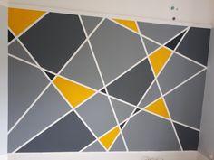 Pop of color Geometric Wall Paint, Geometric Decor, Wall Painting Decor, House Painting, Bedroom Wall Designs, Diy Bedroom Decor, Tape Wall Art, Wall Paint Patterns, Room Paint