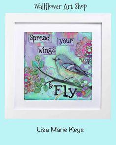 Teen Wall Art, Tween, Bird Decor, Spread Your Wings, Purple, Turquoise