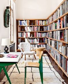 This inspiring home office is what every writer needs. | 26 Bookshelves That Will Give You Serious Goals