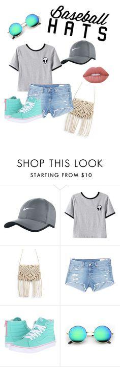 """""""Baseball hats"""" by fionnamc ❤ liked on Polyvore featuring NIKE, Chicnova Fashion, rag & bone/JEAN, Vans, Lime Crime, baseballcap and baseballhats"""