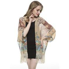 Kimono ML Cafe Claro rosas RTML166