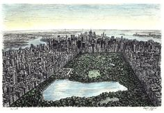 Central Park, New York - drawings and paintings by Stephen Wiltshire MBE - Artist is Autistic & draws these from memory. Amazing!