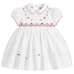 Shop new season Sarah Louise, featuring beautiful Christening dresses, suits and shortie sets for girls and boys. Girls Dresses Sewing, Girls Smocked Dresses, Princess Flower Girl Dresses, Little Girl Dresses, Smocked Baby Clothes, Baby Dress Design, Smock Dress, Toddler Dress, Smocking