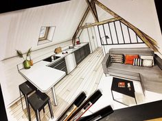 A Passion for Interior Design Drawings Interior Design Sketches, Interior Rendering, Architecture Student, Architecture Design, French Interior, Classic Interior, Loft, Designs To Draw, Interior Design Living Room