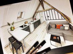 Loft Apartment. A Passion for Interior Design Drawings. By Jean-Rémi Desbrousses.
