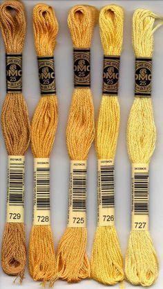 DMC six-stranded embroidery floss - 700 series. 700 - Bright Green; 701 - Green - Light; 702 - Kelly Green; 703 - Chartreuse; 704 - Bright Chartreuse; 712 - Cream; 718 - Plum; 720 - Orange Spice - Dark; 721 - Orange Spice - Medium; 722 - Orange Spice - Light; 725 - Topaz - Medium Light; 726 - Topaz - Light; 727 - Topaz - Very Light; 728 - Topaz; 729 - Old Gold - Medium; 730 - Olive Green - Very Dark; 731 - Olive Green - Dark; 732 - Olive Green; 733 - Olive Green - Medium; 734 - Olive Green…