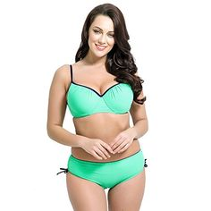 4db4197bb518f Runbox Womens Plus Size Pleated Push up Twopiece Swimsuit Swimwear Bikini  Set XLUS1618 Light Blue