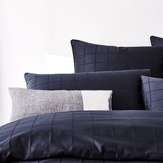 Gramercy Grid 1000TC Quilt Cover Midnight