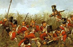 British infantry at (probably) Quatre Bras during the run-up to the Battle of Waterloo Military Art, Military History, Military Uniforms, Army Uniform, Military Diorama, American Revolutionary War, American Civil War, American Art, British Soldier